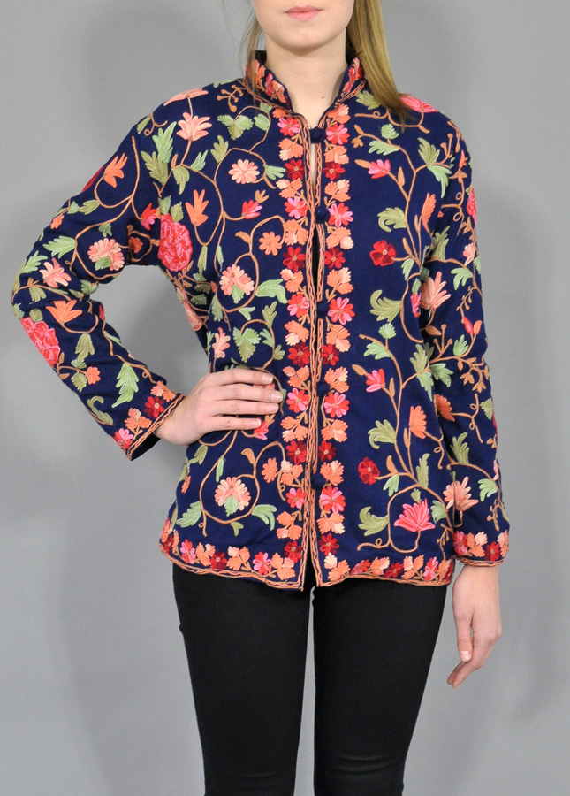 Hot Womens Coats Fashion Chinese Retro Style Embroidery Embroidered Floral  Print Wool Woolen Long Coats Jacket