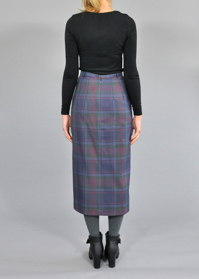 tartan checkered midi pencil skirt vintage skirts ss14