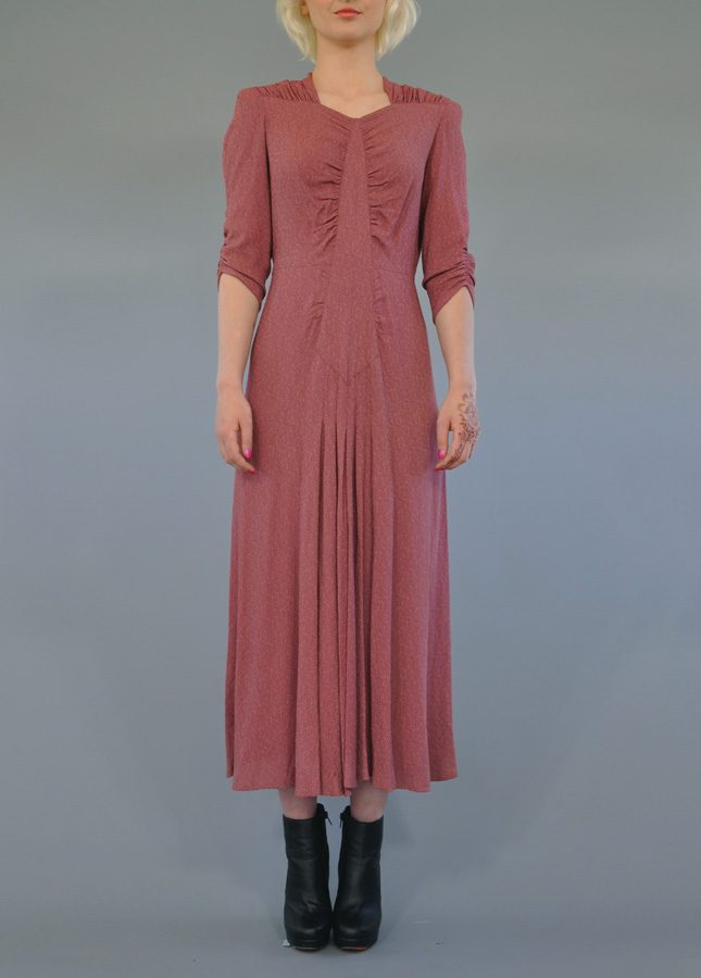30s Muted Pink Day To Evening Dress