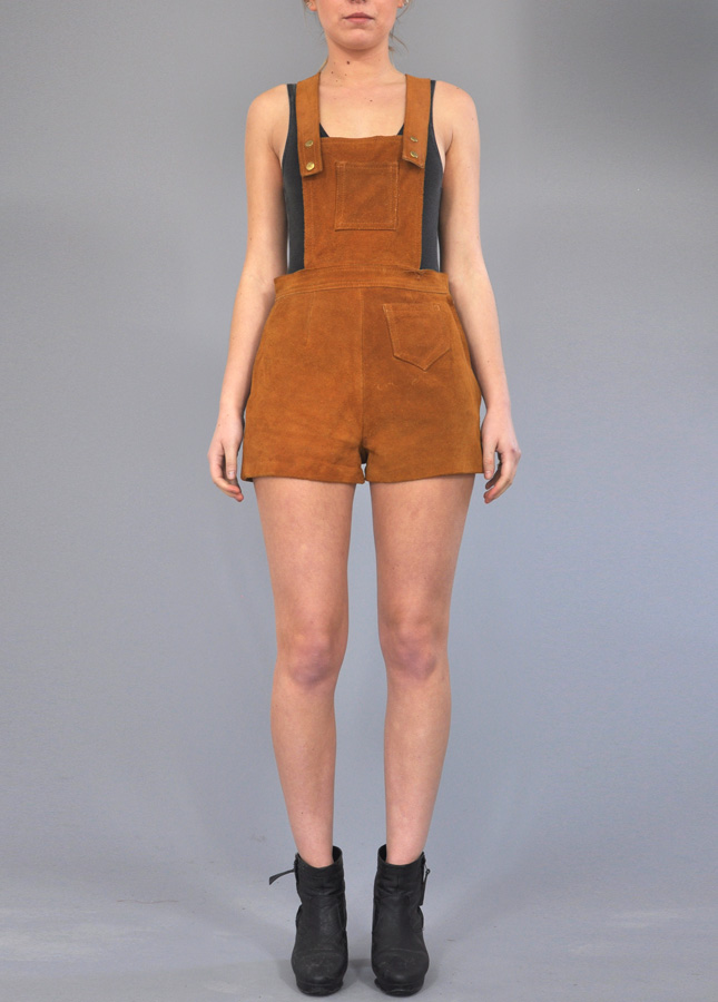Vintage Tan Playsuit, Vintage Suede Hot Pants, Vintage Playsuit, Vintage Deli Clothing, Online Vintage Clothing, Norfolk, London